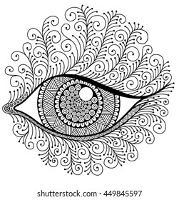 Eye with eyelashes. Decorative image to the print. Coloring book for adult meditation and relaxation