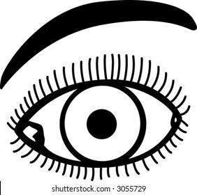 eye with eyelashes and eyebrow