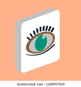 Eye with Eyelashes Simple vector icon. Illustration symbol design template for web mobile UI element. Perfect color isometric pictogram on 3d white square. Eye Eyelashes icons for you business project