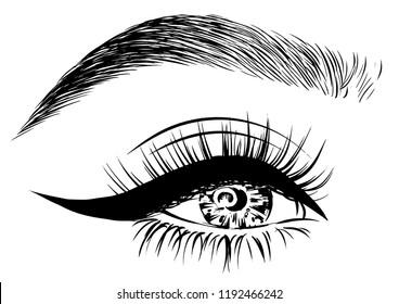 eye with eyeliner and full lashes