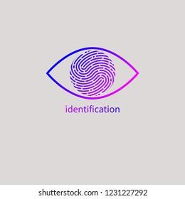 Eye with fingerprint, personal identification, identity, id logo. Vector illustration