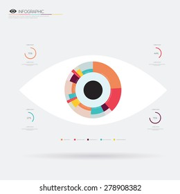 Eye flat icon infographic. Vector illustration