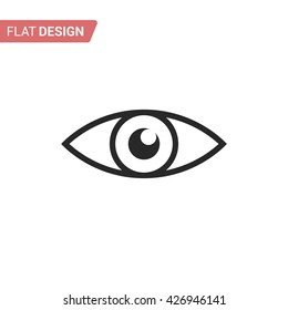 Eye flat icon. Silhouette eye. Monochrome eye isolated on background