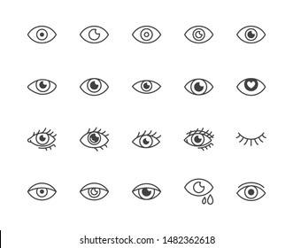 Eye flat line icons set. Tired eyes, vision, eyesight, makeup simple vector illustrations. Outline signs for visibility concept, optometrist clinic. Pixel perfect. Editable Strokes.