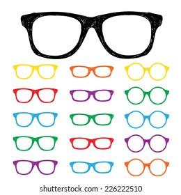 Eye glasses Hand drawn color set