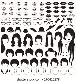 eye, glasses, hat, lips and hair, vector woman face parts, head character