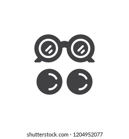 Eye glasses and eye lens vector icon. filled flat sign for mobile concept and web design. Ocular simple solid icon. Symbol, logo illustration. Pixel perfect vector graphics