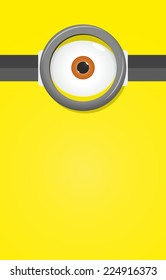 Eye in glasses on yellow background