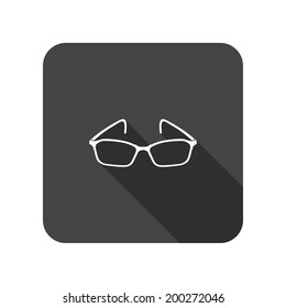 Eye glasses. Optical glass appliance for vision. Rounded square flat icon with long shadow. Vector