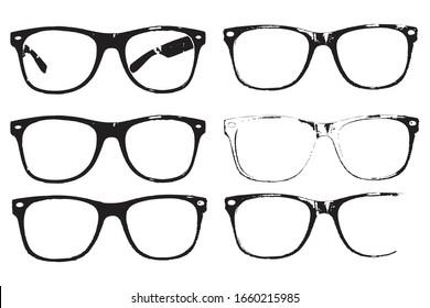 Eye glasses set, hipster style frames, black isolated on white background, vector illustration.