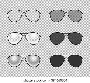 Eye glasses set : sunglasses and reading eyeglasses with black color frame and semi transparent lens in different shade. Classic aviator design. vector art image illustration, isolated on background