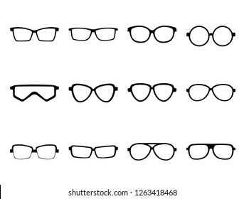 eye glasses set vector icon, black and White color, modern design