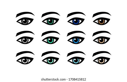Eye green, gray, blue, brown vision icon set or lady s eye in simple design on an isolated background. EPS 10 vector