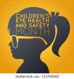 Children's Eye Health and Safety Month vector logo icon illustration