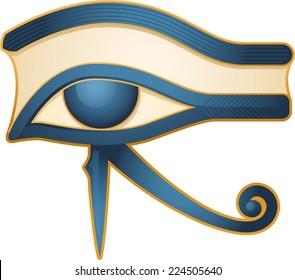 The Eye of Horus Egypt Deity, with Egyptian religious myth figure deity. Vector illustration cartoon.