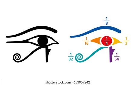 Eye of Horus fractions arithmetic values. In Ancient Egyptian, fractions were written as sum of unit fractions, represented by different parts of the Eye of Horus symbol. Color illustration. Vector.