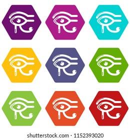 Eye horus icons 9 set coloful isolated on white for web