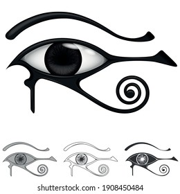 eye of horus, symbol and amulet of protection originating in ancient egyptian, symbol comes from the egyptian god Horus, all on white background