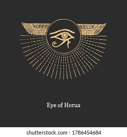 Eye of Horus, vector illustration in engraving style. Vintage pastiche of esoteric and occult sign. Drawn sketch of magical and mystical symbol.