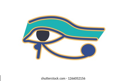 Eye of Horus or Wadjet, ancient Egyptian hieroglyphic sign or logograph isolated on white background. Historical artefact, religious amulet, symbol of royal power. Colorful vector illustratration.