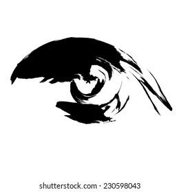 Eye icon. Brush paint