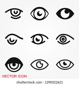 Eye icon, flat icon for logo, vector sign symbol