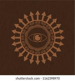 eye icon inside realistic wood emblem