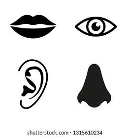 eye icon, lips, nose, ear icon.  set of human senses icon. Vision, hearing, smell,  taste