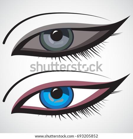 Eye Icon On White Background Cartoon Monster Evil Ghost Eyes Stock