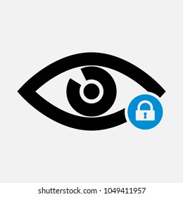 Eye icon with padlock sign. Eye icon and security, protection, privacy symbol. Vector icon