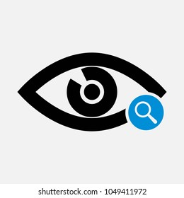 Eye icon with research sign. Eye icon and explore, find, inspect symbol. Vector icon