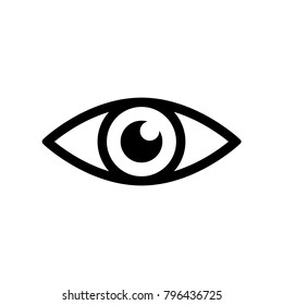 Eye icon. Simple black eye sign in flat style isolated on wihte background. Simple vector symbol for web site design or button to mobile app. Vector illustration.