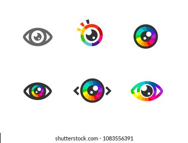 Eye icon - eye symbol. flat eye sign vector. colorful eye icons