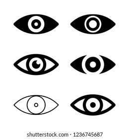 Eye icon vector, view symbol set