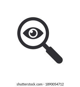 Eye icon. View icon. Sneak peek. Spying, spy, watch. Magnifying glass. Search icon. Finding solution. Safe search. Human eye. Logo template. Spy sign. Magnifier icon. Oculist, ophthalmologist. Observe