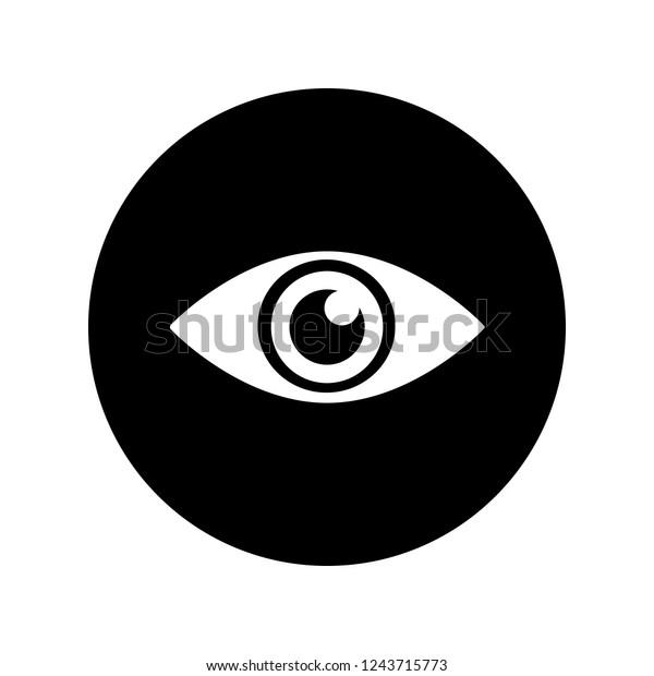 Eye Icon White On Black Circle Stock Vector Royalty Free 1243715773