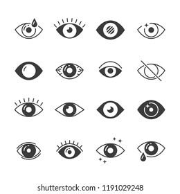Eye icons. Human eyes, vision and view signs. Visible, sleep and medicine supervision observe, lens or cry, eyesight health outline silhouette vector isolated symbols set
