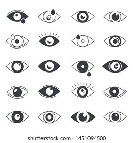 Eye icons. Human eyes and vision. Visible, sleep and medicine supervision observe, lens or cry, eyesight health. Vector isolated symbols set