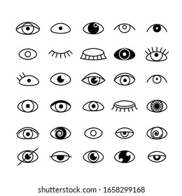Eye icons set outline style. Open and closed eyes images, sleeping eye shapes with eyelash, vector supervision and searching signs illustration isolated on a white background.Human organ