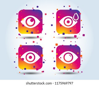 Eye icons. Water drops in the eye symbols. Red eye effect signs. Colour gradient square buttons. Flat design concept. Vector