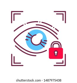 Eye identification private protection or locked line icon. Blocked user account, private, safe or secure data, access denied. Biometric security element. Sign for web page, mobile app, banner.