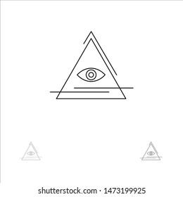 Eye, Illuminati, Pyramid, Triangle Bold and thin black line icon set