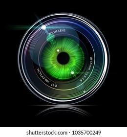 Eye inside a camera photo lens, vector illustration