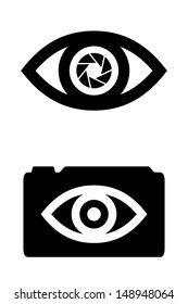 Eye with integrated camera lens. Vector icons.