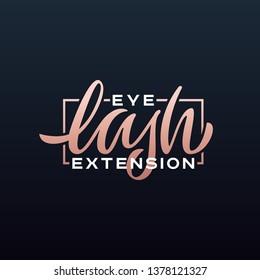 Eye lash extension hand lettering logo. Vector illustration