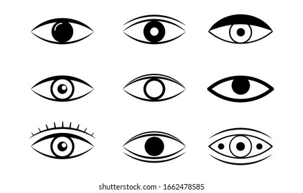 Eye line icon. Human organ of sight in different positions, visual system in graphic design. Eye and view line icons. vector linear icon set.