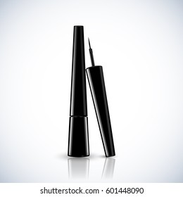 Eye Liner Package Design Premium Cosmetic Ads mock up template. 3D Realistic Vector Illustration.