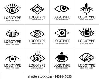 Eye logo black set. Eyes graphic symbols, vector secret and spy, healthy vision and creative eyeball logo set on white