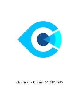Eye Logo With C letters with abstract shapes, logos - vectors - templates.