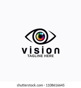 Eye Logo design vector template. Colorful media icon. Vision concept idea.